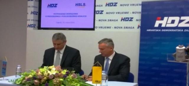HSLS i HDZ potpisali sporazum o koaliciji