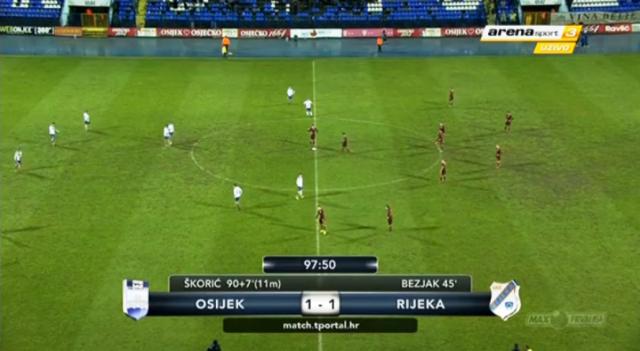 Osijek izjednačio protiv Rijeke u zadnjoj minuti