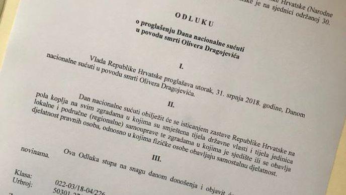 Sutra Dan nacionalne sućuti u povodu smrti Olivera Dragojevića