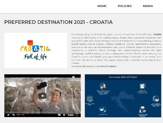 """Hrvatska je u 2021. godini """"Preferred Destination"""" ECTAA-e"""