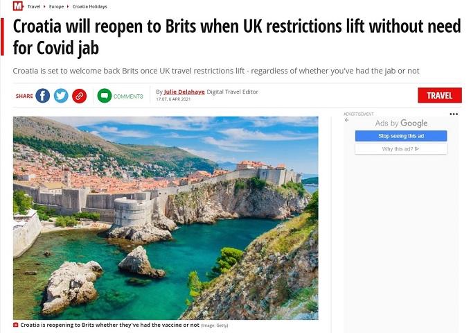 The Mirror: Britanci će uskoro moći putovati u Hrvatsku