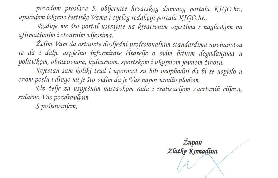pismo za rodjendan Župan Zlatko Komadina zaželio sretan rođendan portalu KIGO.hr  pismo za rodjendan